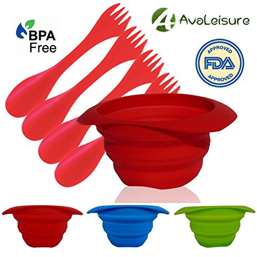 AVALEISURE COLLAPSIBLE SILICONE BOWL - Set of 2 x 25oz/750ml - Space-saving Travel, Camping, Hiking, Picnics – Ideal for Eating Food At Home and Outdoors - Food-grade, BPA-Free (Avalon Picnic Backpack)