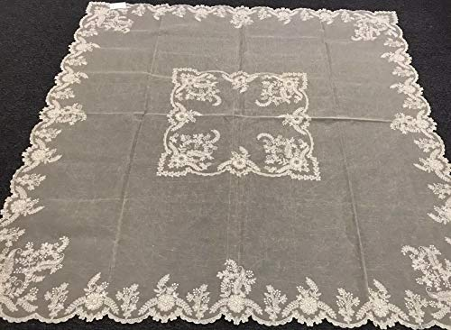 Mikash 72x72 Square Embroidery Jeweled Rhinestone Beaded Organza Tablecloth | Model TBLCLTH - 545