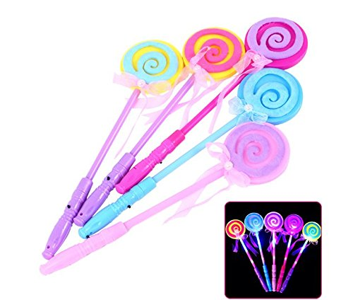 URToys 5Pcs Fashion Kids LED Light-Up Lollipop Glow Sticks Toys For Girls Princess Flashing Fairy Wand Wand Sticks Birthday Gift Party Supplies Dress Decoration ()