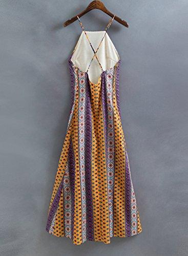 Azbro Mujer Vestido de Fiesta Rayado Abertura Alta Tirantes Finos Amarillo