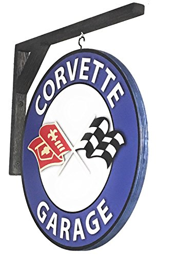 - Corvette Garage Sign - Vintage Design - Double Sided Wall Sign - 14 inch Diameter - Includes Wall Hanging Bracket