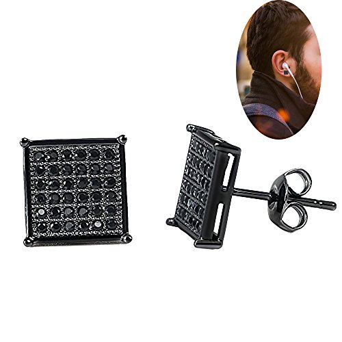 Mens Square Earrings Black Stud Diamond Crystal Big 316L Surgical Stainless Steel Post for Sensitive Ear Cool Guy Jewelry Gift Men,Women Unisex 9.5mm -Bala