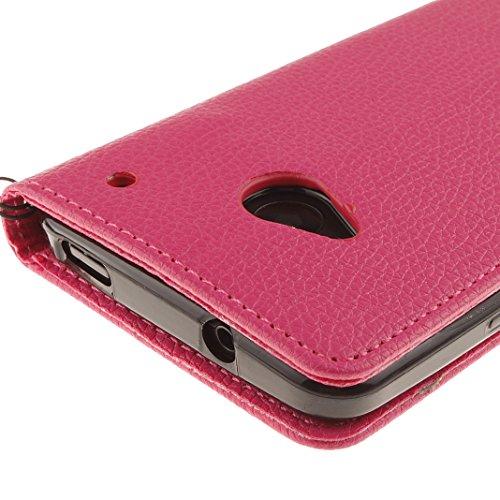 Funda HTC One M7, HTC M7 PU Cuero Carcasa, Moon mood® Color Sólido Marrón Suave TPU Interior Caso Cubierta Funda con Tapa Libro Billetera Magnético Cierre Soporte y Ranura Tarjeta Anti-arañazo Capas C Rosa Rojo