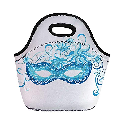 Masquerade Durable Lunch Bag,Venetian Style Mask Majestic Impersonating