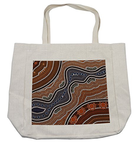 Lunarable Art Shopping Bag, Aboriginal Culture Inspired Abstract Nature Scene Native Australian Illustration, Eco-Friendly Reusable Bag for Groceries Beach Travel School & More, (Australian Themed Costumes Ideas)