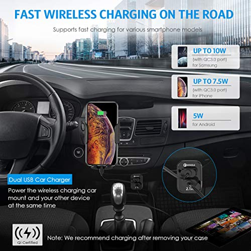 2019 New Wireless Car Charger Mount, 10W, 7.5W, 5W Qi Fast Charging Car Mount, Windshield Dashboard Air Vent Phone Holder Compatible with iPhone XS, X, Samsung Note10, S10, Note 9, Qi Enabled Device