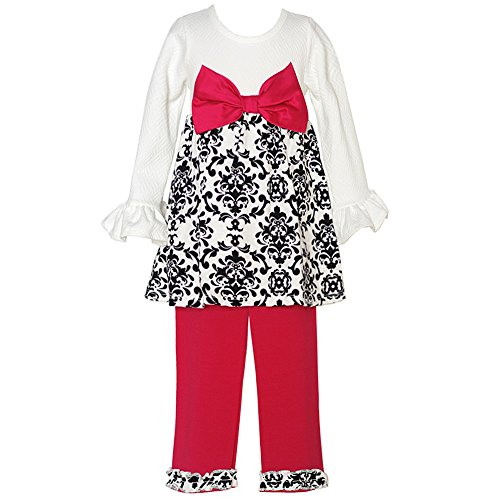 Girl 4t 4 Rare Editions (Rare Editions Little Girls Ivory Black Scroll Pattern Bow Legging Set 4T-4)
