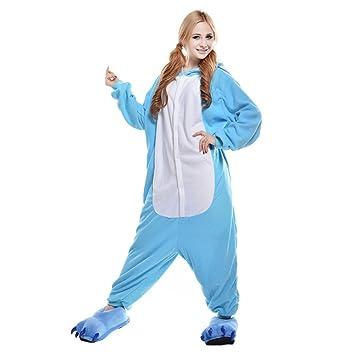 LSERVER-Pijama de Mujeres y Hombres Cosplay conjunto Diseño de Dibujos Animados Azul elefante S