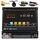 7In Single-DIN Android 6.0 Car dvd Stereo radio Receiver With Bluetooth and GPS Navigation Touchscreen With Wi-Fi Web Browsing, App Download And 1080p Player+wireless rear view camera