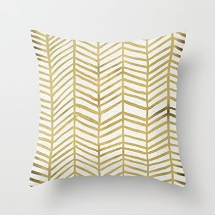 1WillLoanestore-Gold-Herringbone-18-X-18-Creative-Fashion-Polyester-Square-Decorative-Throw-Pillow-Cover-