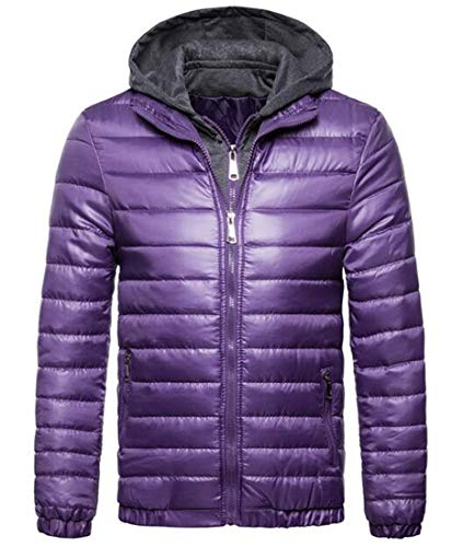 Slim Quilted Zipper Purple Outerwear Jacket Cotton Hooded Men Basic Fit MU2M Winter FpTfqESx