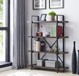 Homissue 4-Shelf Industrial Bookcase and Book Shelves, Display Storage Rack for Collection ,Dark Gray
