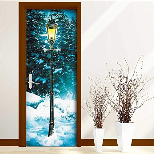 (Leighhome Door Wall Sticker The lamp in The Snow Glass Film for Home Office W31 x H79)