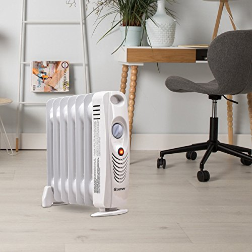 Custpromo 700W Portable Mini Electric Oil Filled Radiator Heater With Built-in Handle Custpromo Oil Filled Heaters