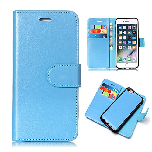- iPhone 8 Case, iPhone 7 Case, UZER 2 in 1 Detachable Magnetic Back Cover Premium Leather Folio Flip Kickstand Removable Wallet Case with Card Slot Cash Holder Pocket for iPhone 7/8, Light Blue
