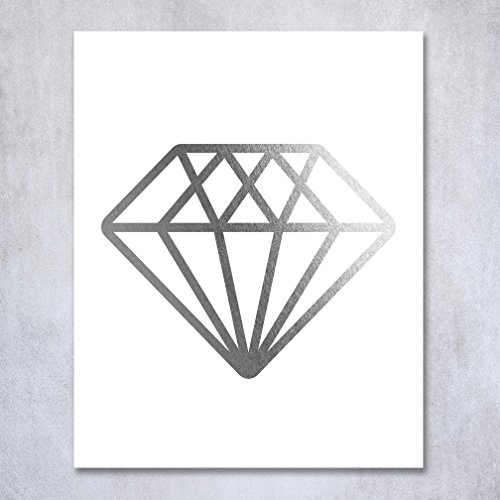 Diamond Silver Foil Print Wall Art Bride Engaged Gift Fiance Home Decor Metallic Gemstone Poster 8 inches x 10 inches B12