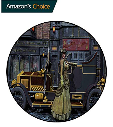 RUGSMAT Victorian Modern Machine Washable Round Bath Mat,Lady Wearing Old Style Dress and Vintage Car in Street Mechanic Industrial Era Print Non-Slip Soft Floor Mat Home Decor,Diameter-35 Inch ()
