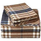 Pinzon Set de sábanas de Franela a Cuadros - matrimonial, Cuadros marrón