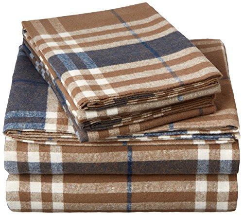 Pinzon 160 Gram Plaid Flannel Sheet Set - Full, Brown Plaid