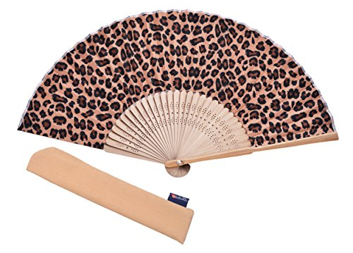 Hand Fan Bamboo Leopard Printed Folding Fan Cotton for Party Wedding Gift with Fan Cover]()