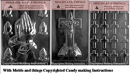 Assorted Praying Hands chocolate candy mold, Large Cross with Base chocoloate candy mold ,Bite size cross chocolate candy mold with © molding Instructions