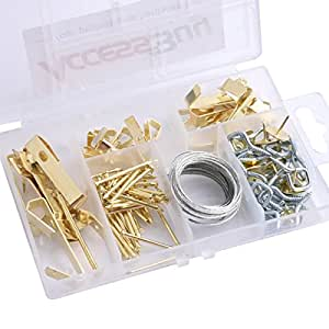 Accessbuy Picture Hangers with Nails, Pushpin, and Eye Bolts Assortment Kit Support for 10lbs, 30lbs, and 50lbs Picture Frame