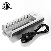 [Upgraded] EBL 8 Bay/Slot Smart AA, AAA Ni-MH Ni-CD Rechargeable Battery Charger - ETL Certified