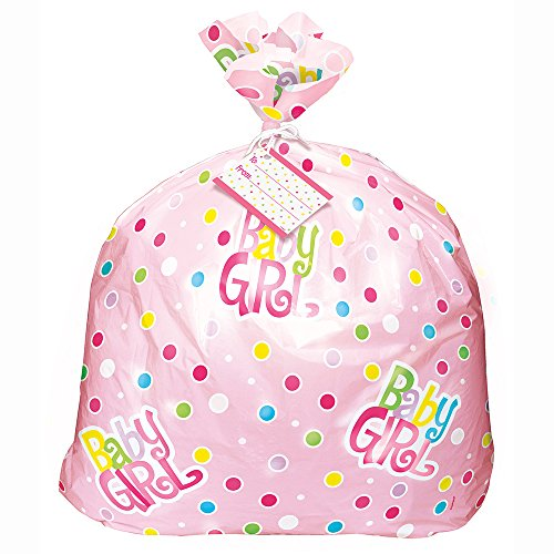 Large Baby Gift Bag (Jumbo Plastic Pink Polka Dot Girl Baby Shower Gift)