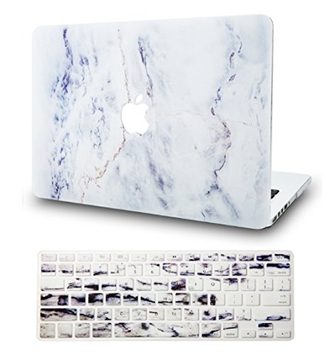 """KECC Laptop Case for MacBook Air 13"""" Retina (2020, Touch ID) w/Keyboard Cover Plastic Hard Shell Case A2179 2 in 1 Bundle (White Marble 3)"""