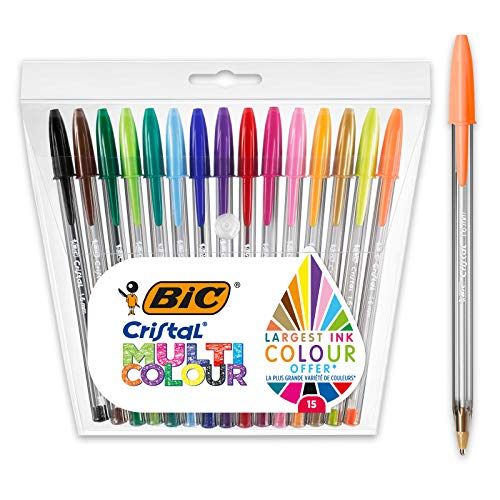 BIC Cristal Multicolour Ballpoint Pens - Assorted Colours - Pack of 15 - Wide Tip (1.6 mm) Pens for Colourful Writing and More