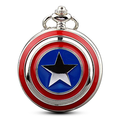 (Mens Five-Pointed Star America Pocket Watch Quartz Movement Steampunk Fob Watches for Man Gifts)