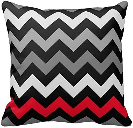 Black and White With Red Chevron Pattern Decorative Throw Pillow Cover Cushion Case Home Square 18 X 18 Inches Two Sides: Amazon.es: Hogar