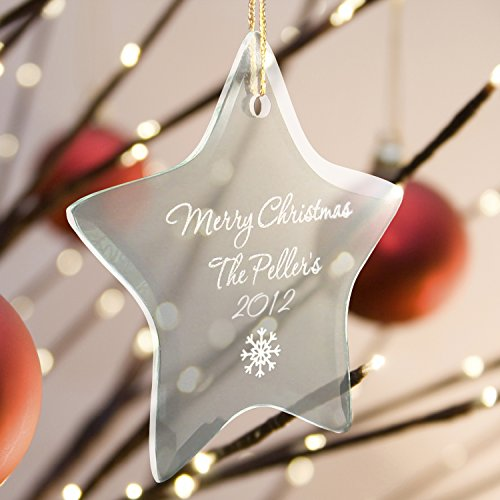 (Personalized Beveled Glass Star Shaped Ornament - Snowflake Image)