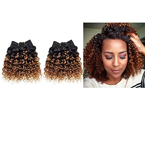 Emmet 2pcs/lot 100g Short Wave 8Inch Brazilian Kinky Curly Human Hair Extension (1B#/30#) (Famous People With Wigs)