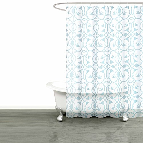 Bathroom and More Collection SHEER Fabric Shower Curtain White with Blue Bird, Flower & Vine Design (Shower Curtain 72