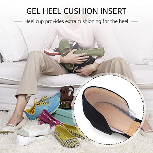 Skyfoot's Silicone Gel Non-Slip Heel Cups Protector,Heel Cushion Insoles,for Plantar Fasciitis,Bone Spurs,Heel Pain Relief,Shock Absorption, for Kids & Women & Men (1 Pair) (M)