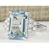 Fashion Women 925 Silver Aquamarine Gemstone Ring Engagement Wedding Jewelry#by pimchanok shop (6)