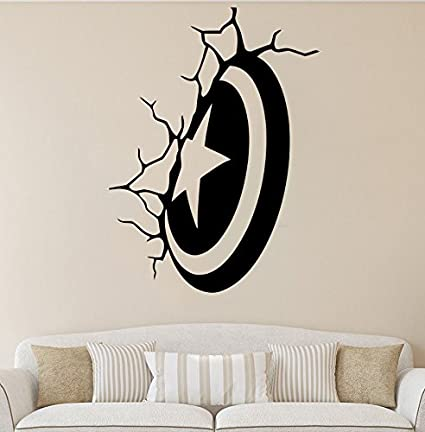 Captain america comics sticker shield vinyl poster marvel design teen boys room fans wall decor superhero