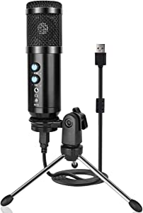 USB Microphone, Metal Condenser Recording Microphone for Laptop MAC or Windows Cardioid Studio Recording Vocals, Voice Overs,Streaming Broadcast and YouTube Videos