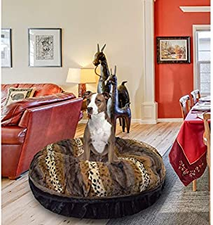 product image for BESSIE AND BARNIE Signature Wild Kingdom/Black Puma Luxury Extra Plush Faux Fur Bagel Pet/Dog Bed