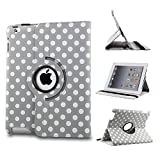 Revesun White Big Polka Dot 360 Rotate PU Leather Case Cover Stand for ipad mini 2 Apple iPad Mini - Gray