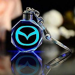 Fitracker Car Logo Mazda Key Chain Crystal Led Light Changing Key Chain Key Ring Accessories