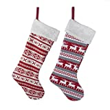 "Kurt Adler 22"" Red Knit Stocking Set Of 2"