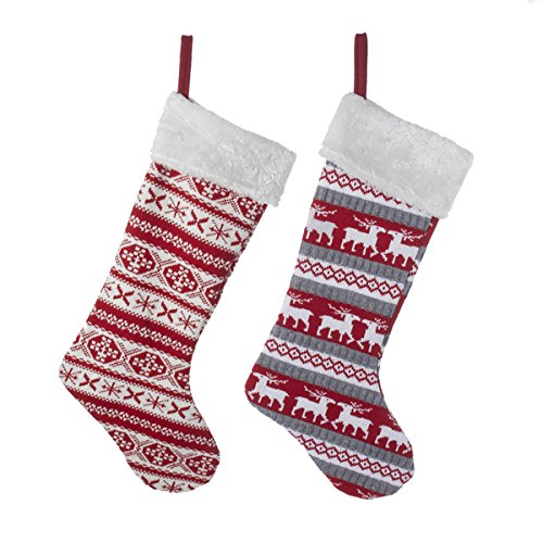 """Kurt Adler 22"""" Red Knit Stocking Set Of 2"""