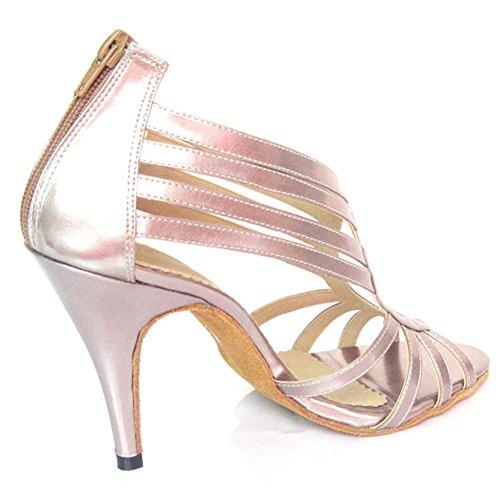 GUOSHIJITUAN Frauen Latein Tanzschuhe,Leise Unten Pu High Heel Salsa Dancing Schuhe Tango Soziale Tanzschuhe Rosa