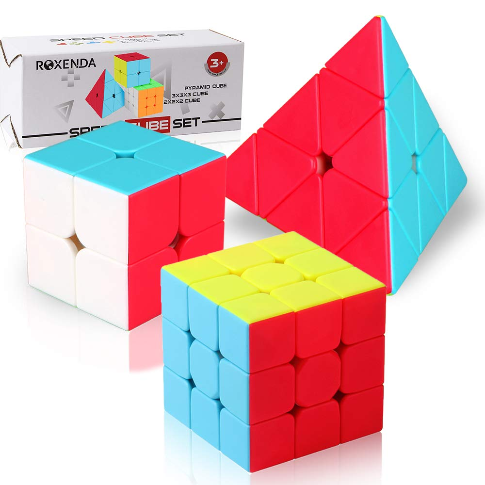 Speed Cube Set,Roxenda Professional 2x2x2 3x3x3 Pyramid Cube Bundle - Easy Turning and Smooth Play - Solid Durable and Stickerless Frosted - Turns Quicker Than Original by Roxenda