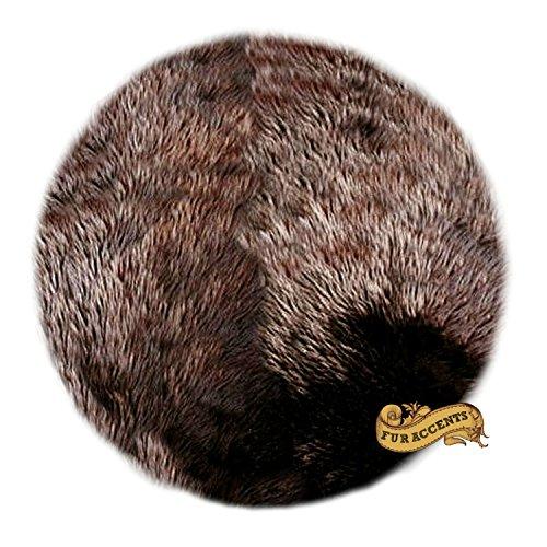 (Round Shag Rug Kids Play Rug Nursery Crib Carpet Faux Fur Shaggy Sheepskin (5' Diameter, Chocolate Brown))