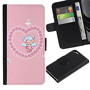 JackGot ( Angelo sveglio di amore del cuore ) Apple iPhone 5 / iPhone 5S la tarjeta de Crédito Slots PU Funda de cuero Monedero caso cubierta de piel