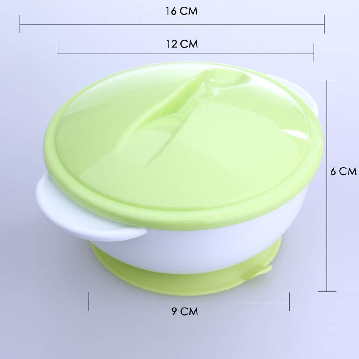 Color : Green Nourrisson B/éb/é Vaisselle Vaisselle Sucker Bol Avec Couvercle Temp/érature De D/étection Cuill/ère Formation Aliments Pour B/éb/és Ensemble Enfants Aliments Bol De Plats