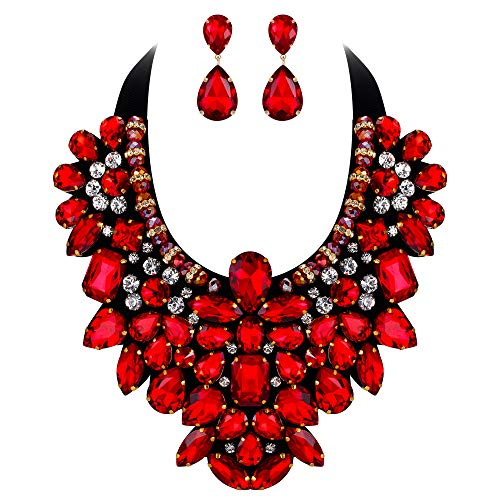 (Flyonce 8 Colors Women's Stunning Crystal Costume Statement Necklace Earrings Set for Banquet, Prom Red)